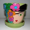 Handpainted terracotta pot
