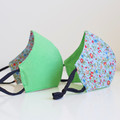 Blue green polka dots floral 3 layers face mask
