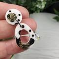 Royalty Dalmatian - Gold - Glittering - Drop Resin - Stud Dangle earrings