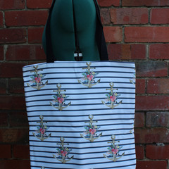 Handmade canvas tote bag | Anchors and stripes