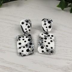 Silver Dalmatian Rectangle - Glittering - Drop Resin - Stud Dangle earrings