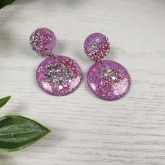 Plum Cirlcle Dome Dangle earrings - Handcrafted dangle earrings - Sml