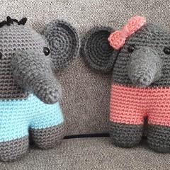 Mr. & Ms. Dumbo, the Crochet Elephant Toys