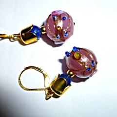 Pink wedding cake glass earrings