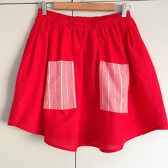Freya Skirt in Cherry Pie - XS Size Red Recycled Fabric