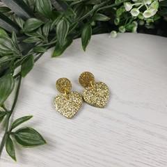 Golden Heart - Glittering - Drop Resin - Stud Dangle earrings