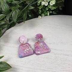 Plum Pebbles Dangle earrings - Handcrafted dangle earrings - Sml
