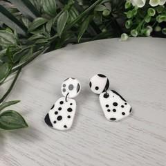 Pebble Dalmation Black and White Spot Drop Resin - Stud Dangle earrings