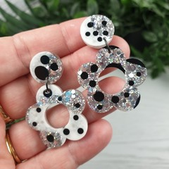 Tiny Flower Power Silver Spot Glitter Resin - Stud Dangle earrings