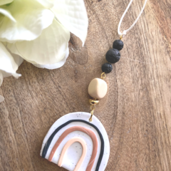 Polymer Clay Rainbow Essential Oil Diffuser Car Charm with lava Beads