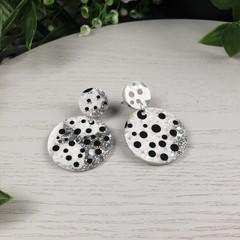 Silver Dalmatian Black/White Spot Circle - Glittering Drop Resin - earrings