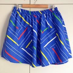 Freya Skirt in Retro Art Teacher - M Size, Blue Printed Vintage Fabric