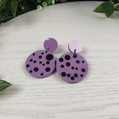 Purple Plum Black Spot Circle - Glittering - Drop Resin - Stud Dangle earrings