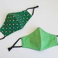 Green polka dots 3 layers Face Mask  Reversible Reusable Washable