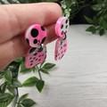 Pebble Watermelon Pink Black and White Spot Drop Resin - Stud Dangle earrings