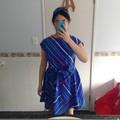 Mei Dress in Retro Art Teacher - Blue Printed Vintage Fabric, S Size