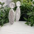 Silver Surfboards - Glittering - Drop Resin - Stud Dangle earrings