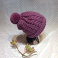 Wool/Bamboo Crocheted Hat with Pom Pom
