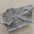Grey Cardigan and hat - Newborn - pure wool - Hand knitted