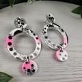 Circle Hoop Watermelon Trio Glitter Resin - MEGA Dangle earrings