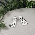Pebble Dalmation Black and White Spot Drop Resin - Stud Dangle earrings