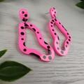 Hot Pink Dalmation Pebble Loop - Glittering - Drop Resin - Stud Dangle earrings