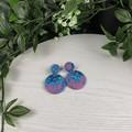 Mermaid Purple and Teal Circle - Glittering Drop Resin - earrings