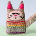 Rainbow felt cat brooch, sleepy tabby cat, animal pin, handmade grey kitten