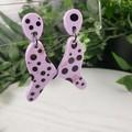 Mauve Spot Organic - Glittering - Drop Resin - Stud Dangle earrings