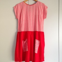 Mei Dress in Cherry Pie - Size L, Recycled Red and Gingham Fabrics