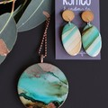 River Gum Collection original art resin dangle earrings - oval