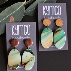 River Gum Collection original art resin dangle earrings - oval