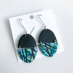 """Escape"" - Teal + Emerald Clay Slab Dangles"
