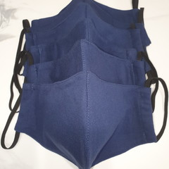 LARGE NAVY 100% Cotton Triple Layer Face Mask with inner insert pocket