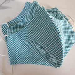 100% Cotton Triple Layer Face Mask with inner insert pocket - Teal Gingham