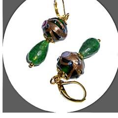 Emerald and wedding cake earrings