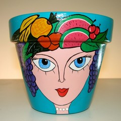 Handpainted terracotta pot
