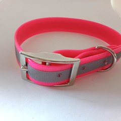 Pink reflective pvc dog collars small / medium