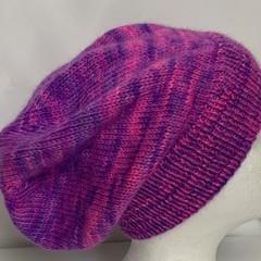 Unisex adult hand-knitted 80% AUSSIE-ALPACA-20% AUSSIE MERINO slouch-beanie 2/ 2