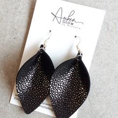 Genuine Leather, Black/ Silver Speckled Petal Earrings