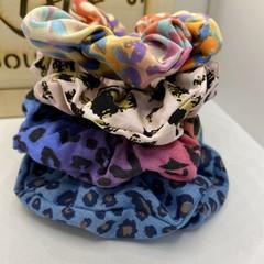 Colourful Leopard Print Scrunchie set