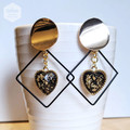 Golden Stud with Black Hollow Geometry and Heart Shape Drop Earrings.