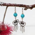 Turquoise Leaf Earrings with sterling silver heart and leaf charms