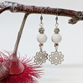 Howlite dangle earrings with silver accent beads and silver mandala charms