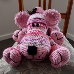 Lacey: hand crocheted lion cub by CuddleCorner: OOAK, washable, pinks/purples