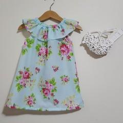 Ava Floral  Ruffle Neck Girls Dress Size  0