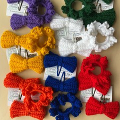 Bow clips & hair tie set
