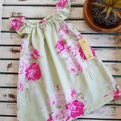 Baby Girls Green and Pink Flutter Sleeve Dress Size 0
