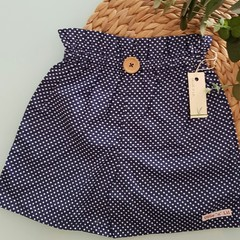 Girls High Waisted Shorts Navy & White Spot Size 4 & 5