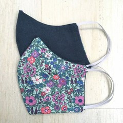 Sample 3 layered Face Mask - Floral/Blue
